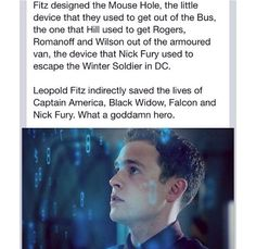 Leo Fitz is a hero to the Marvel Universe... Agents of SHIELD, Captain America 2