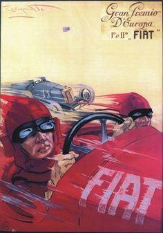 "TARGA VINTAGE ""1923 CAR RACING FIAT"" PUBBLICITA',POSTER, AUTO EPOCA, ADVERTISING"