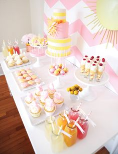 Dessert table ~ lots of pink and yellow! --- Pink Chevron You Are My Sunshine Birthday Party