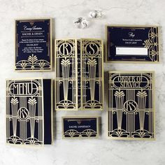 Golden Art Deco Great Gatsby Laser Cut Gatefold Wedding Day Invitation The fabulous Great Gatsby Retro inspired Gatefold Card consists of personalised day invitation with Great Gatsby Wedding, Wedding Day, Wedding Vows, 1920s Wedding, Wedding Paper, Party Wedding, Wedding Rings, Wedding Wording, Wedding Themes