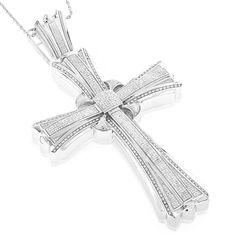 Luxurman Sterling Silver Men's 2 1/5ct TDW Diamond Cross Pendant