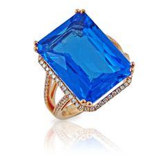 Rosendorff Aqua Collection 16.82 Carat Blue Topaz and Diamond Ring
