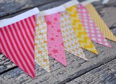 Pink Lemonade Pink Yellow White Bunting, Fabric Flag Banner, Pennant Nursery Decor, Photo Prop - Cake Smash Prop