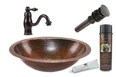 Premier Copper Products - BSP3_LO19FDB Bathroom Sink, Faucet and Accessories Package  #coppersink #bathroomsinkpackages