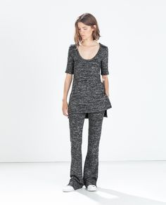 Image 1 of KNIT FLARED TROUSERS from Zara