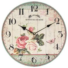 Home Decoration Vintage Style Shabby Chic MDF Rose and Butterfly Scene Wall Clock with Decorative Hands by Obique Ltd, http://www.amazon.co.uk/dp/B00I3IBGLI/ref=cm_sw_r_pi_dp_C-Vitb1G0GXMR