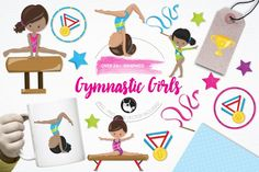 Gymnastic Girls pack features over 24graphic elements and is perfect for invitations, greeting cards, product design, tags, labels and so much more.