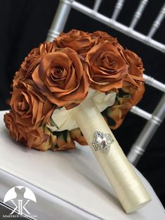 BURNT ORANGE Bridal Bouquet With BROOCH Handle. Burnt Orange Bouquet. Burnt Orange Brooch Bouquet. Burnt Orange Wedding. Qunceanera Bouquet. Pick color!! Bouquet measures approximately 11 wide and 13 in height.  This dreamy Dusty Rose Wedding, Aqua Wedding, Bling Wedding, Burgundy Wedding, Orange Centerpieces, Blue Wedding Centerpieces, Crown Centerpiece, Burnt Orange Weddings, Dusty Blue Weddings
