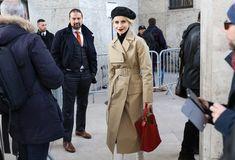 Caroline Daur in a Joseph coat with a Loewe bag