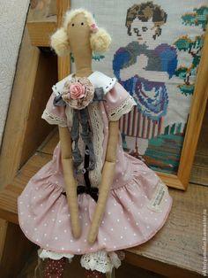 Купить куклы тильда ручной работы КУКОЛКИ - бежевый, розовый, кукла Тильда