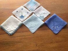 Vintage Handkerchief / Hankie lot of 6 in shades of Blue with