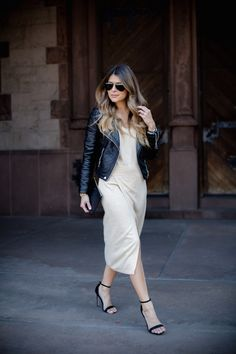 Moto Jacket, Thigh High Slit Dress, Ombre Hair   The Girl from Panama