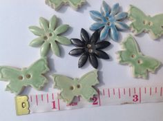 Butterfly Ceramic Buttons and Flower Daisy buttons by REDceramics, £6.75