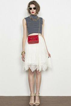 Romantic Lace skirt: LagunaMoon レースギャザーミドルスカート(2中旬〜2月下旬) - shopstyle.co.jp