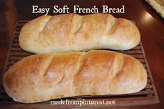 Easy Soft French Bread. One of my favorite Pinterest recipes so far. Extremely easy homemade bread made in the kitchen aid mixer. Make this all the time with dinner. Leftovers are great for garlic/Parmesan toast, or in the mornings for cinnamon toast.