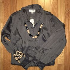 NWT Dress Barn shirt Dark gray button down shirt. 98% polyester, 2% spandex. Necklace/bracelet not included, but available in separate listing. Dress Barn Tops Button Down Shirts