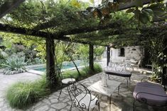 Architecture, Amazing Traditional French Country Home Pergola Pool Country House Designs Cottage Decorating Ideas Rustic Home Interior Decor. Pergola Attached To House, Pergola With Roof, Backyard Pergola, Timber Pergola, Country House Design, French Country House, Iron Furniture, Dream Furniture, Furniture Chairs
