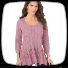 """Plus size Sonia Peplum Sweater 3x,Dusty Rose Peplum power. Get to know our brilliant plus size sweater. carefully stitched pointelle sweater A-lines away from the body, giving extra room for a flawless and effortless fit. Bra Friendly   ¾-length sleeves end below the elbows for style you can wear all year long scooped back is stylish, keeping you cool and confident peplum creates a beautifully balanced figure falling to about 28"""" this top meets you below the hips for flattering coverage…"""