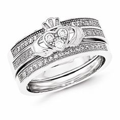 Sterling Silver Claddagh Pave Trio Set Rings