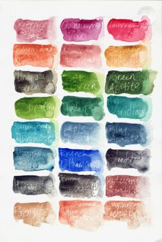 A watercolor palette we made when we first got the Daniel Smith selection. Gelly Roll clear Glaze pen acted as a resist for the writing.