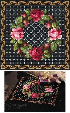 Christmas Cushion – Ring of Roses.jpg Christmas Cushion – Ring of Roses Cross Stitch Pillow, Cross Stitch Rose, Cross Stitch Flowers, Tapestry Crochet Patterns, Needlepoint Patterns, Embroidery Patterns, Cross Stitching, Cross Stitch Embroidery, Cross Stitch Designs