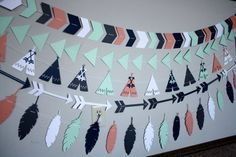 Best baby room ideas for boys nurseries teepees Ideas Tribal Baby Shower, Baby Boy Shower, Pow Wow Party, Baby Boy Rooms, Baby Room, Feather Garland, Tribal Theme, Teepee Party, Indian Party