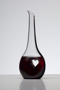 How cute is the heart shape stamped into the body of this Riedel Black Tie Bliss decanter.