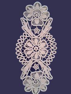 Doily Romanian Point Lace Crochet Doily ECRU (Beige) Floral Pattern x Lace Doilies, Crochet Doilies, Crochet Flowers, Crochet Lace, Crochet Motif, Irish Crochet, Crochet Stitches, Macrame Patterns, Lace Patterns