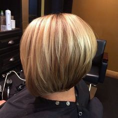 Simple easy stacked bob haircut with highlights