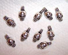 TEN 16mm x 7mm Silver Metal Skull Charms by JerseyShoreBeads, $2.50