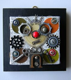 (Mixed Media Collage My robot wears glasses by redhardwick on Etsy, $80.00)  Use old watch parts; cogs; keys etc.
