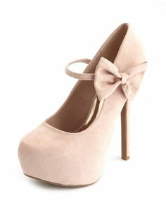 20f73a7e351 Nude Suede Heels with Bow