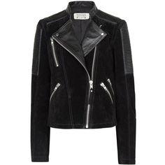 Mango Combi Leather Biker Jacket, Black found on Polyvore
