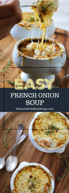 Easy French Onion Soup Easy French Onion Soup – Fragrant, cheesy and so comforting! Caramelized onions, beef stock and white (or red) cooking wine mingle into a luxurious medley in this classic French dish. Classic French Onion Soup, Classic French Dishes, Easy French Onion Soup, French Onion Soup Recipe Without Wine, French Food, Outback French Onion Soup Recipe, French Onion Soup Ingredients, Onion Soup Recipes, Easy Soup Recipes