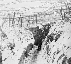 Trench in the snow in Alsace, 1915-1916. Barbed wire is often under-rated as a tool of defensive warfare, especially in the First World War. It was another technical innovation of the fifty years preceding the outbreak of the Great War.
