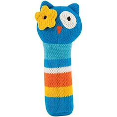 """Rich Frog K'NIT Squeak Easy Owl Baby Squeaky Toy, Multi Color Cotton Knit Animal Toy for Baby, 6"""" ** You can get more details by clicking on the image. (This is an affiliate link) #PlushFigures"""