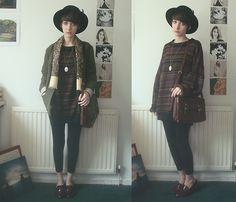 Sally Cinnamon (by Ashleigh F.) http://lookbook.nu/look/4778089-Romwe-Hat-Vintage-Scarf-Jumper-Office-Loafers