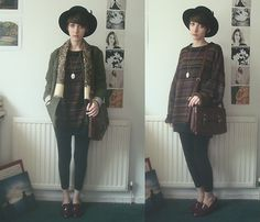 Sally Cinnamon (by Ashleigh F.) http://lookbook.nu/look/4778089-Hat-Vintage-Scarf-Jumper-Office-Loafers-Sally-Cinnamon