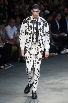 GIVENCHY MEN'S WHITE BOMBER WITH BLACK FLOWER PRINT #runwaylook