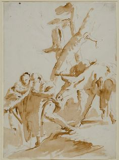 Giambattista Tiepolo (Italian, 1696-1770). The Flight into Egypt, 1735-40. Pen and brown ink wash over traces of black chalk on paper. The Anthony Moravec Collection of Old Master Drawings, Eskenazi Museum of Art, 2010.134.