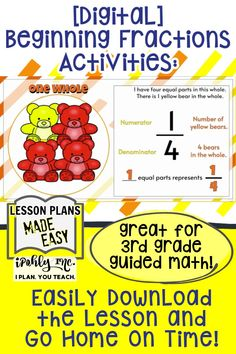 Download this easy #digital #math #lesson for your #3rdGrade or #4thGrade class… and go home early!  All the work is done for you on this #fractions lesson plan! It includes activities, games and task cards. This works great for an #elementary #GoogleClassroom!   This engaging digital activity has moving manipulatives - one less thing to sanitize and quarantine after students use them!  For more fun guided math games, activities and unit plans visit ipohlyinc.com! Math Games, Math Activities, Student Learning, Fun Learning, 3rd Grade Math Worksheets, Adding And Subtracting, Unit Plan, Guided Math, Word Problems