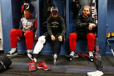 Marian Hossa, Antoine Vermette and Patrick Kane get ready for Tuesday's practice.