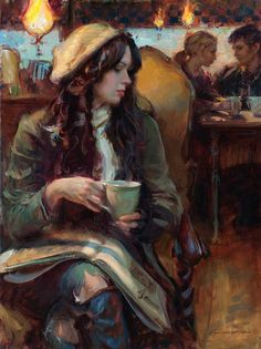 By Daniel F. Gerhartz ( love the lady in his paintings and sheen of silk ) This green is amazing.