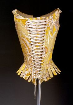 Corset, 1770s Italian Yellow, red, and ivory silk compound weave Gift of The Metropolitan Museum of Art, 1940 (C.I.40.173.6a–e). By the 1770s, steel was being used in stays, which increased their strength, though not their flexibility.