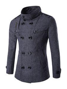 Grey Tweed Coat Double Breasted Stand Collar Overcoat For Men