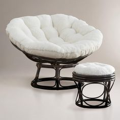 Ivory Faux Fur Papasan Cushion | World Market  Had to get it! Its like sitting in a cloud.