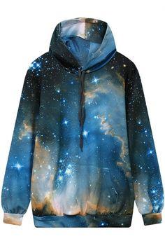 Women;s Drawstring Hooded 3D Galaxy Printed Hoodie Sweatshirt with One Kangaroo Pocket
