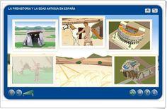 """""""La Prehistoria y la Edad Antigua en España"""" es una aplicación de la plataforma Agrega que expone, mediante gráficos animados, e interactúa con los niños sobre estas dos edades de la Historia en España."""