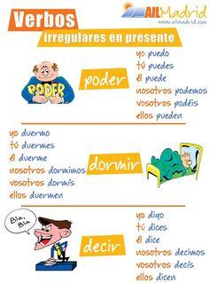 """¿Dominas ya los verbos irregulares como """"poder"""", """"dormir"""" y """"decir"""" en presente? Teach Me Spanish, Study Spanish, Spanish Lesson Plans, Spanish 1, Spanish Lessons, Learning Spanish, Spanish Phrases, Spanish Grammar, Spanish Vocabulary"""