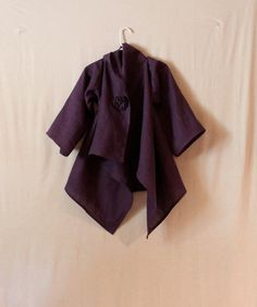 custom olive linen fall wrap jacket 3/4 by annyschooclothing